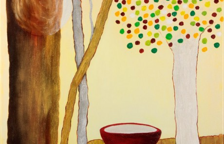 Taza Roja (50 x 50 cm) Óleo sobre Lienzo.